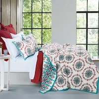 HiEnd Accents Sonora White, Red, and Teal Quilt Set
