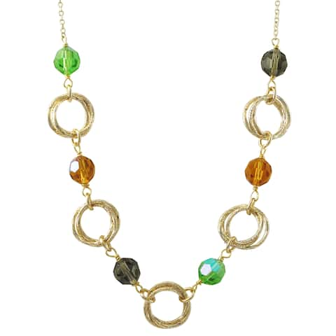 Luxiro Gold Finish Multi-color Glass Beads Linked Circles Necklace - Green