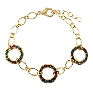 Luxiro Gold Finish Multi-color Crystal Circle Bracelet