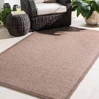 Bordered Durable Indoor/Outdoor Brown Area Rug (7'10 x 10'3)