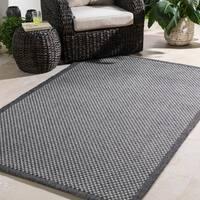 Bordered Durable Indoor/Outdoor Grey Area Rug - 7'10 x 10'3