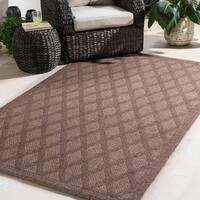 Durable Trellis Indoor/Outdoor Brown Area Rug - 7'10 x 10'3