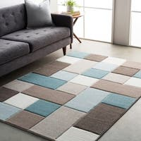 Modern Geometric Carved Blue and Grey Area Rug (7'10 x 10'3)