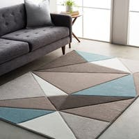 Modern Geometric Carved Blue and Grey Area Rug - 7'10 x 10'3