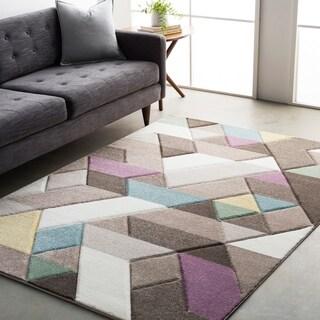 Modern Geometric Carved Grey Multi (7'10 x 10'3)