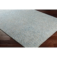 Contemporary Geometric Blue/Grey Wool Nylon Area Rug - 7'6 x 9'6