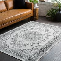 Traditional Persian Distressed Grey Area Rug - 7'10 x 10'3