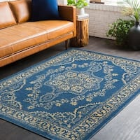 Traditional Persian Oriental Navy Blue/Yellow Area Rug - 7'10 x 10'3