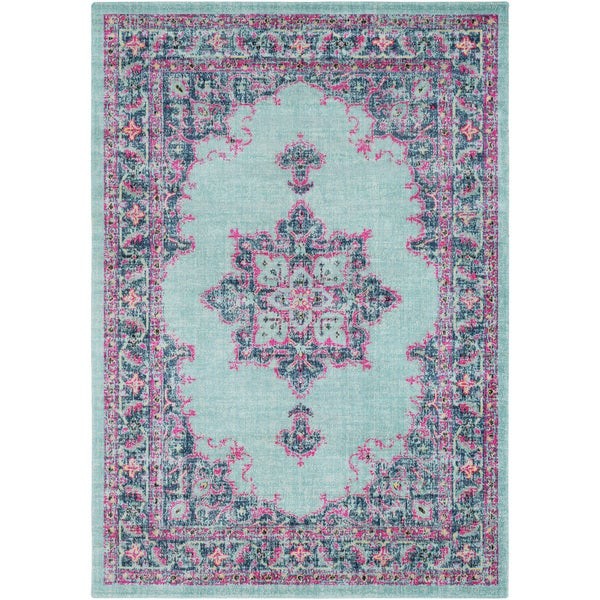 Traditional Persian Distressed Light Blue Pink Area Rug 7