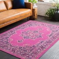Traditional Persian Distressed Pink Area Rug - 7'10 x 10'3