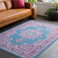 Traditional Persian Distressed Blue and PInk Area Rug - 7'10 x 10'3