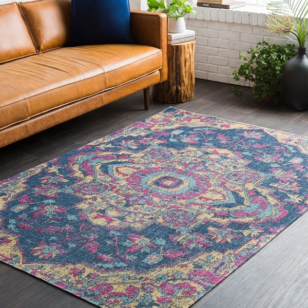 "Persian Medallion Distressed Blue and Yellow Area Rug - 7'10"" x 10'3"""