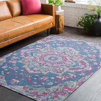 Persian Medallion Distressed Blue and Pink Area Rug (7'10 x 10'3)