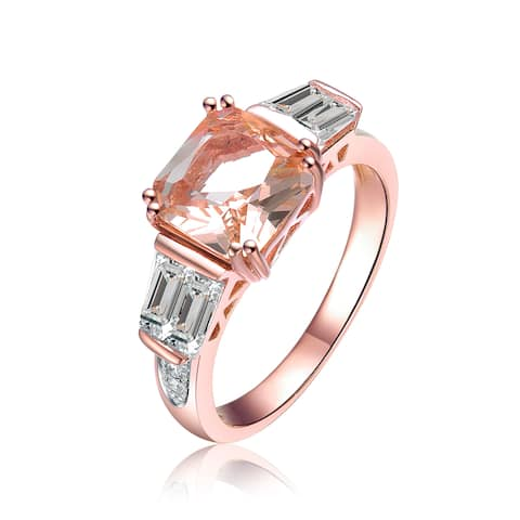 Collette Z Rose Gold Overlay Champagne Cubic Zirconia Solitaire Ring (6
