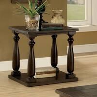 Furniture of America Besser Plank Style Dark Walnut Open Shelf End Table
