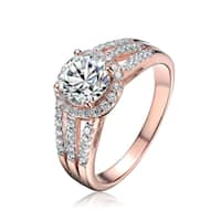 Collette Z Rose Gold Overlay Cubic Zirconia Wide Band Solitaire Ring