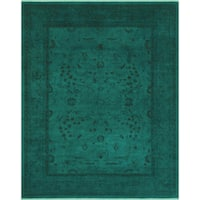 Hand-knotted SHILA Teal/Teal  Wool ( 7'10 X  9'11) - 7 ft. 10 in. x 9 ft. 11 in.