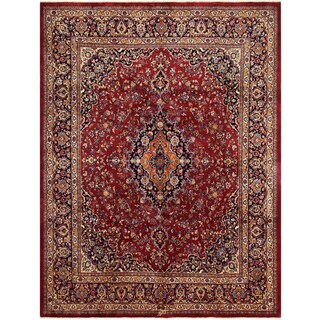 Hand-knotted  TOM Red/Blue  Wool Rug (10' 5 X 11' 2) - 10 ft. 5 in. x 11 ft. 2 in.