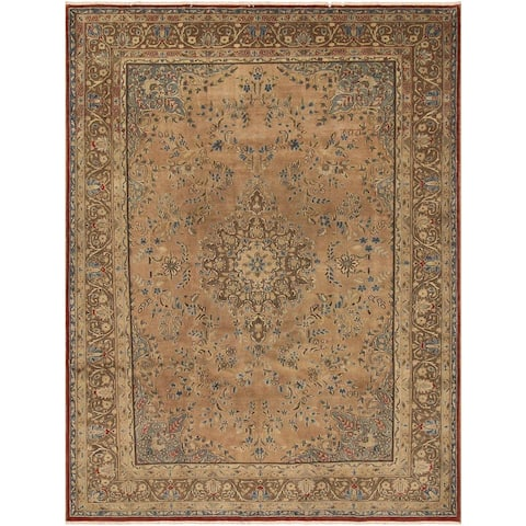 Hand-knotted TERRELL Tan/Lt. Brown Wool Rug (7'10 X 11' 7) - 7 ft. 10 in. x 11 ft. 7 in.