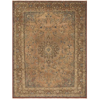 Hand-knotted TERRELL Tan/Lt. Brown Wool Rug (7'10 X 11' 7)