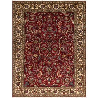 Hand-knotted TERINA Red/Ivory Wool Rug (7' 5 X 10' 9)