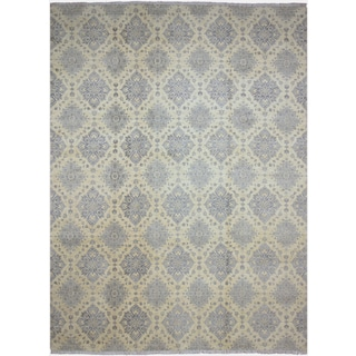Cassy Peshawar Light Blue/Ivory Wool and Silk Hand-knotted Area Rug (9'11 x 14'3)