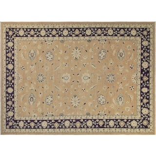 Angelina Light Brown/Blue Wool Sun-faded Hand-knotted Rug (10'0 x 13'9)