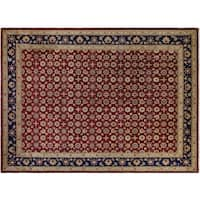Peshawar Mercedes Red and Dark Blue Wool Hand-knotted Rug - 10' x 14'