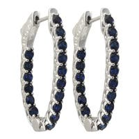 Luxiro Sterling Silver Lab-created Blue Spinel Gemstone 33x21mm Oval Endless Hoop Earrings