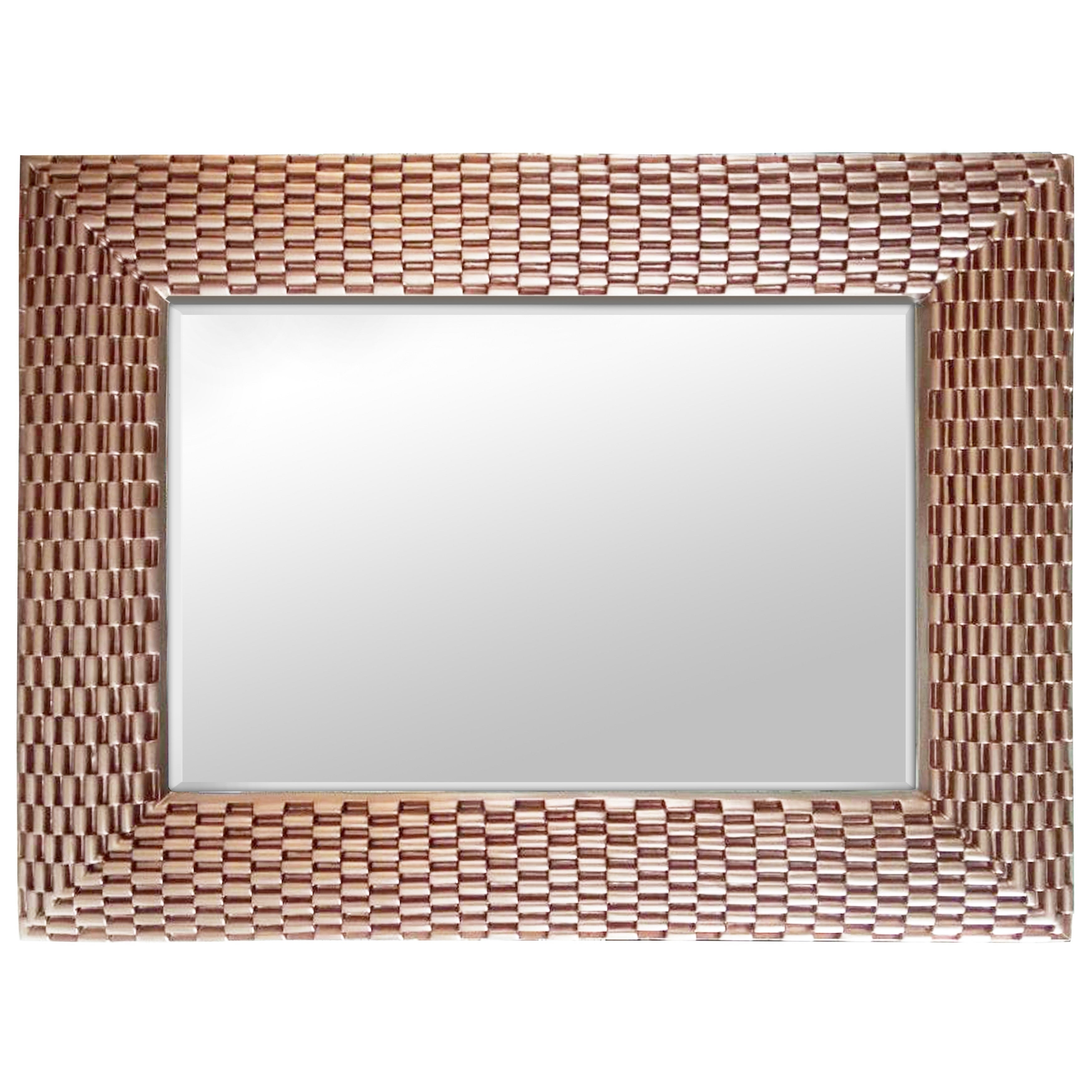 Shop Rose Gold Weave Large Rectangle Wall Mirror Copper On Sale Overstock 15949568