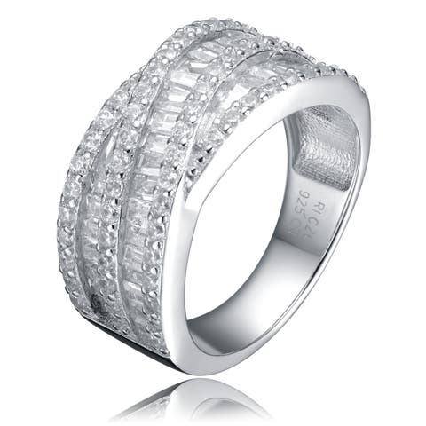 Collette Z Sterling Silver Cubic Zirconia Layered Strand Ring