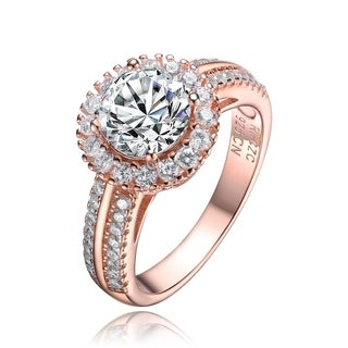 Collette Z Sterling Silver Cubic Zirconia Solitaire with Halo Ring