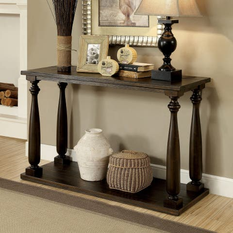 Furniture of America Quez Traditional Walnut Solid Wood Console Table