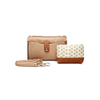 Mia K. Farrow Women's MKF Collection Frangelina Faux Leather 3-in-1 Crossbody Pouch and Wallet Set (Option: Apricot)