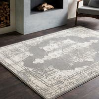 Tabatha Distressed Grey Medallion Area Rug (6'7 x 9'6)