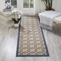 Nourison Caribbean Ivory Blue Indoor/Outdoor Area Rug - 2'3 x 7'6