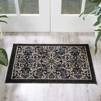 Nourison Caribbean Charcoal Indoor/Outdoor Area Rug - 2'3 x 7'6