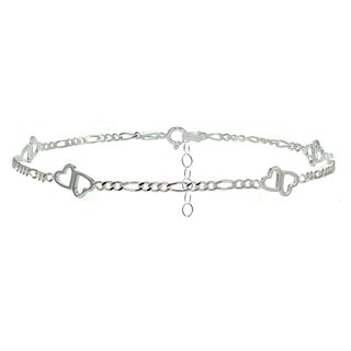 Mondevio Sterling Silver Figaro Chain with Double Heart Anklet