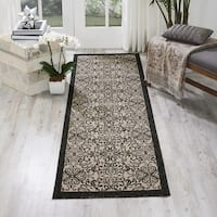 Nourison Caribbean Ivory Charcoal Indoor/Outdoor Area Rug - 2'3 x 7'6