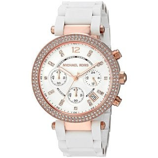 Michael Kors Women's MK6405 Parker Chronograph White Dial white silicone-wrapped stainless steel strap.