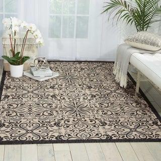 Nourison Caribbean Ivory Charcoal Indoor/Outdoor Area Rug (2'6 x 4')