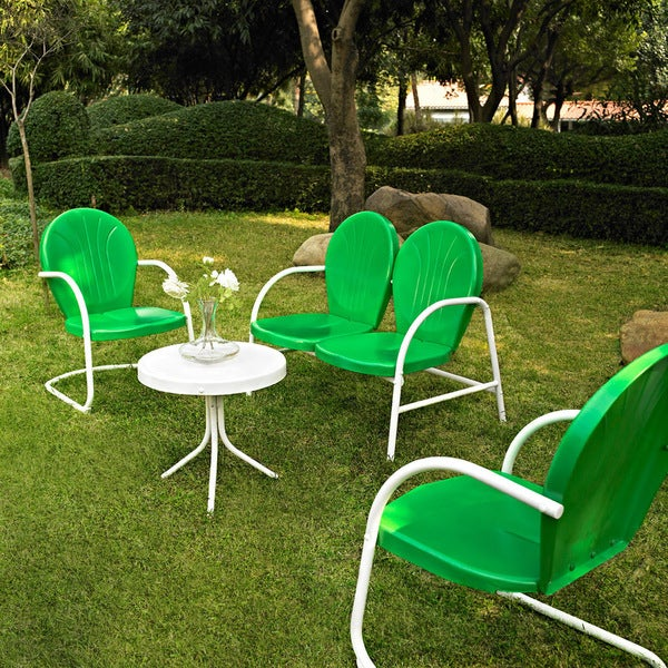 Crosley Furniture Griffith Grasshopper Green And White Metal 4 Piece Outdoor  Conversation Set