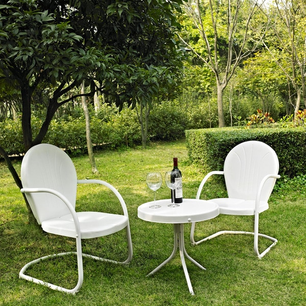 Shop Griffith White Metal 3 Piece Outdoor Conversation