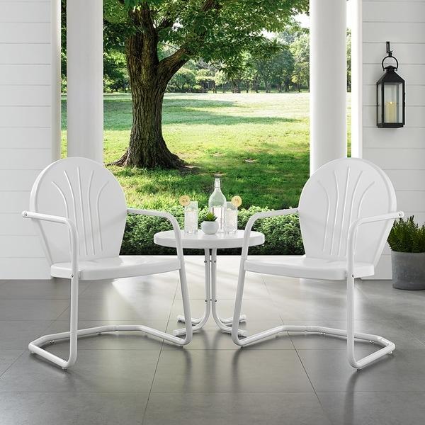 Havenside Home Howard Bay White Metal 3-piece Outdoor Conversation Set
