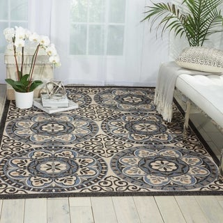 Nourison Caribbean Ivory Charcoal Indoor/Outdoor Area Rug - 2'6 x 4'