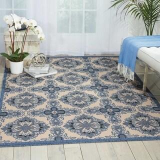 Nourison Caribbean Ivory Blue Indoor/Outdoor Area Rug (2'6 x 4')