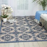 Nourison Caribbean Ivory Blue Indoor/Outdoor Area Rug (2'6 x 4') - 2'6 x 4'