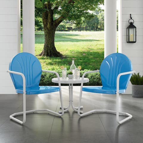 Howard Bay Blue and White 3-piece Metal Outdoor Conversation Set by Havenside Home