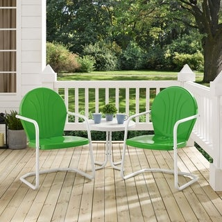 Havenside Home Howard Bay Green Metal 3-piece Outdoor Conversation Seating Set