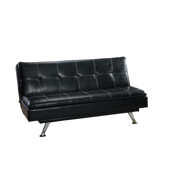 Tufted Leather Sofa Bed: Shop LYKE Home Black Faux-leather Tufted Sofa Bed